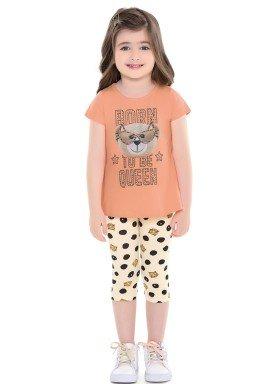 conjunto infantil feminino queen laranja fakini 2020 1
