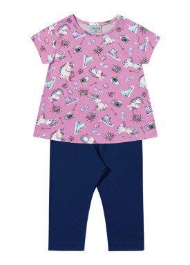 conjunto infantil feminino unicorn lilas forfun 2115