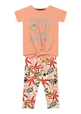 conjunto infantil feminino wildcorn laranja fakini 2048