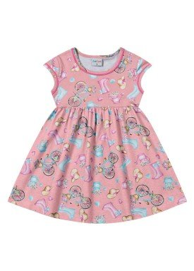 vestido infantil feminino bycicle rosa forfun 2113