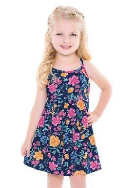 vestido infantil feminino floral marinho forfun 2114 1