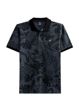 camisa polo juvenil masculina estampada preto fico 48404