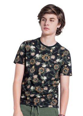 camiseta juvenil masculina flores preto fico 38276 1