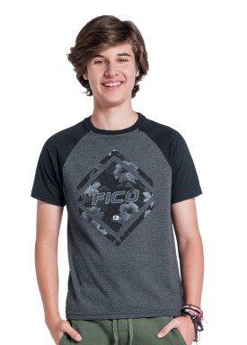 camiseta juvenil masculina flowers mescla fico 38271 1