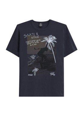 camiseta juvenil masculina skater cinza fico 48407