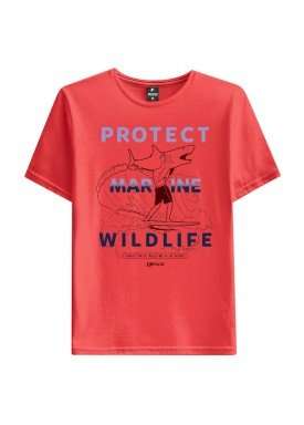 camiseta juvenil masculina wildlife laranja fico 48420