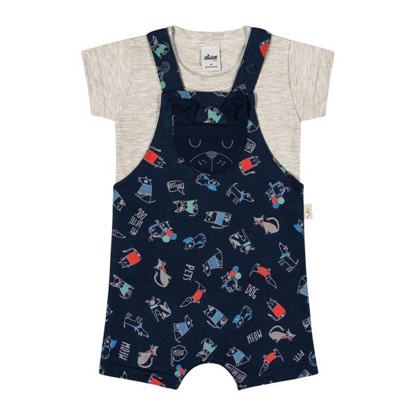 conjunto bebe masculino pets marinho elian 20859