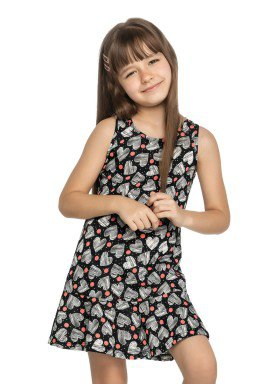 vestido infantil feminino coracoes preto elian 251311 1