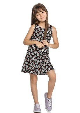 vestido infantil feminino coracoes preto elian 251311 2
