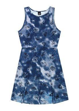 vestido juvenil feminino estampado marinho elian beats 27968
