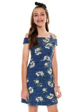 vestido juvenil feminino flores azul fakini 2815 1