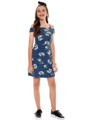 vestido juvenil feminino flores azul fakini 2815 4