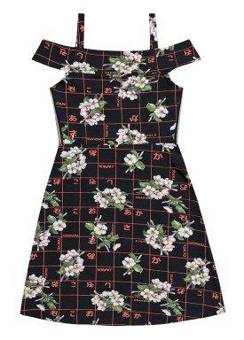 vestido juvenil feminino flores preto fakini 2815