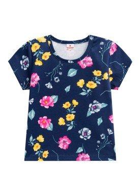 blusa infantil feminina floral marinho brandili 24468