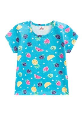 blusa infantil feminina frutas azul brandili 24468