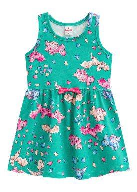 vestido infantil feminino dinos verde brandili 24518