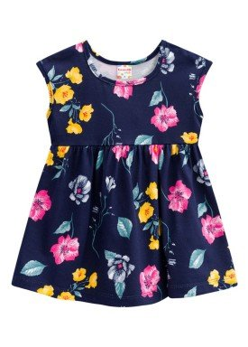 vestido infantil feminino flores marinho brandili 24397