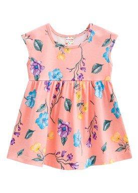 vestido infantil feminino flores salmao brandili 24397