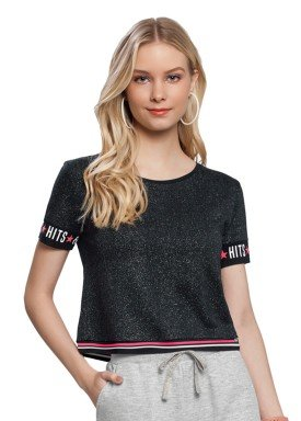 blusa juvenil feminina brilho preto lunender hits 36029 1