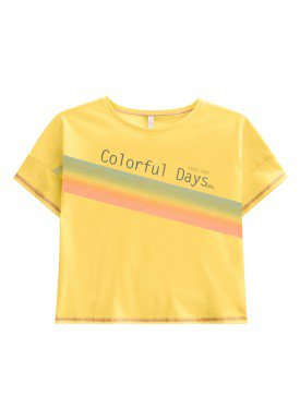 blusa juvenil feminina colorful amarelo lunender hits 46947