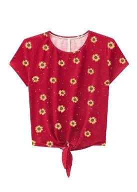 blusa juvenil feminina girassol vermelho lunender hits 36036