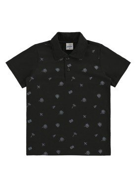 camisa polo infantil masculina viajar preto alenice 47003