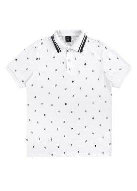 camisa polo juvenil masculina estampada branco rezzato 30744