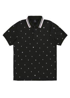 camisa polo juvenil masculina estampada preto rezzato 30744