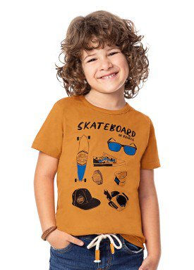 camiseta infantil masculina skateboard mostarda alenice 47011 1