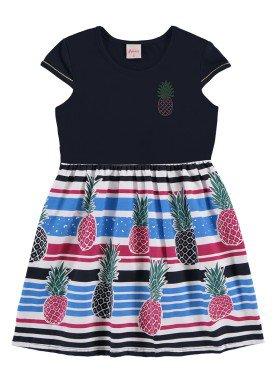 vestido infantil feminino abacaxi marinho alenice 47045
