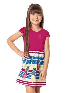 vestido infantil feminino abacaxi rosa alenice 47045 2
