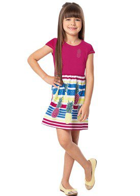 vestido infantil feminino abacaxi rosa alenice 47045 3