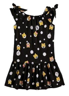 vestido infantil feminino hello preto alenice 47044