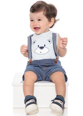 macacao banho de sol bebe menino ursinho azul paraiso 9877 1