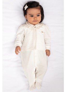 macacao longo bebe menina bordado offwhite paraiso 9787 1