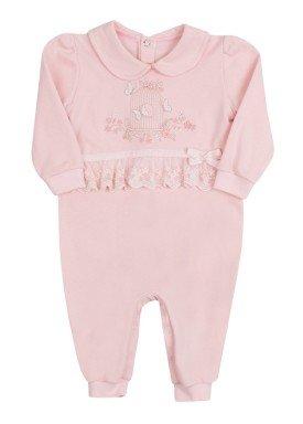macacao longo bebe menina suedine rosa paraiso 9874