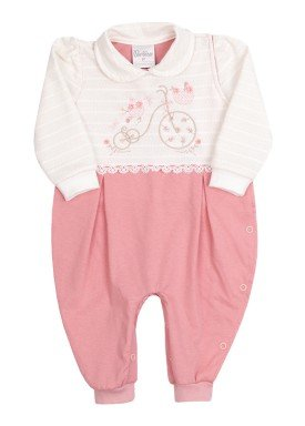 macacao longo bebe menina triciclo rosa paraiso 9953