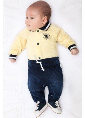 macacao longo bebe menino denim amarelo paraiso 9828 1