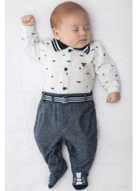 macacao longo bebe menino piquet marinho paraiso 9831 1
