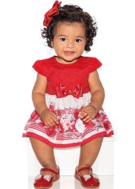 macacao meia manga bebe menina rosa vermelho paraiso 9718 1