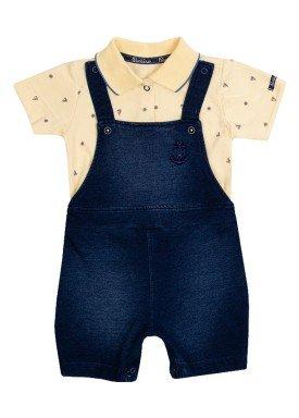 macacao meia manga bebe menino naval amarelo paraiso 10034