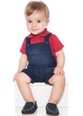 macacao meia manga bebe menino naval vermelho paraiso 10034 1