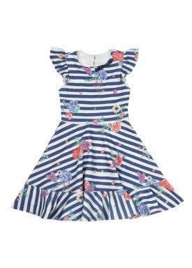 vestido crepe infantil feminino listrado azul paraiso 9596
