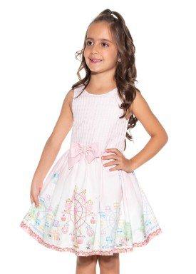 vestido infantil feminino diversao rosa paraiso 9964 1