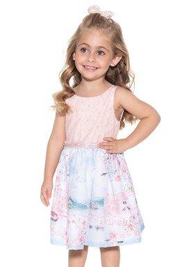 vestido infantil feminino estampado rosa paraiso 9903 4