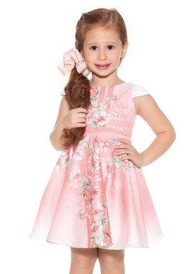 vestido infantil feminino floral coral paraiso 9897 2