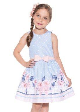 vestido infantil feminino flores azul paraiso 9967 1