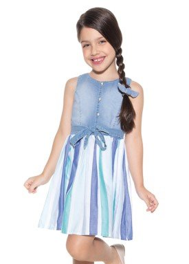 vestido infantil feminino jeans azul paraiso 9995 4