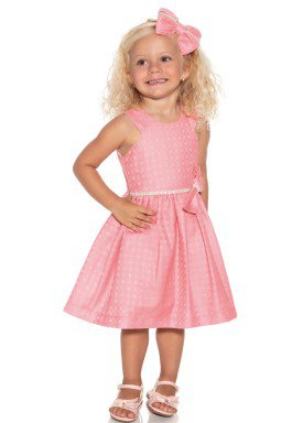 vestido jacquard infantil feminino coral paraiso 9900 1