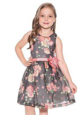 vestido organza infantil feminino floral preto paraiso 9962 2